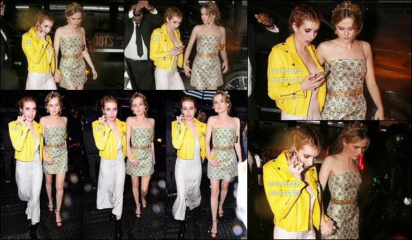 02/05/16 : Emma et la sublime Zoey Deutch ont été repérées quittant l'after-party du Met Gala, à New York. Les pauvres, la pluie s'y est mêlée. Mais sinon, ça fait plaisir de voir les deux actrices aussi complices. J'aime aussi la tenue d'Emm.[/font=Arial]