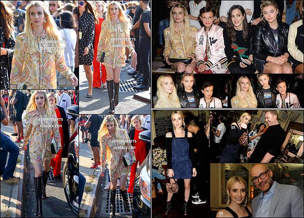 13/09/16 : Em s'est rendue au défilé de la marque de vêtements Coach lors de la Fashion Week de New York. Elle a aussi été photographiée durant le défilé en compagnie de Chloë Moretz puis à l'after-party, dans une tenue différente. Top ![/font=Arial]