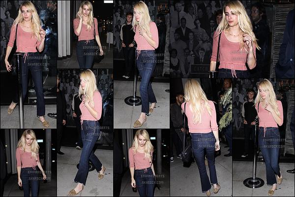 01/10/16 : Emma et Evan Peters ont été vus quittant le restaurant Catch après y avoir dîné, dans Los Angeles. J'aime beaucoup la tenue que porte la miss, mais je pense qu'elle aurait pu opter pour de plus belles chaussures. Ttop quand même ![/font=Arial]
