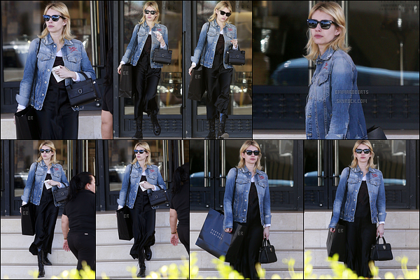 20/12/16 : Emma a été vue quittant le Barney New York après avoir fait quelques achats, dans Beverly Hills. Côté tenue, je ne suis absolument pas fan du tout. A part sa jolie veste en jean gravée à son nom, je lui donne un flop. Quant à vous ?[/font=Arial]