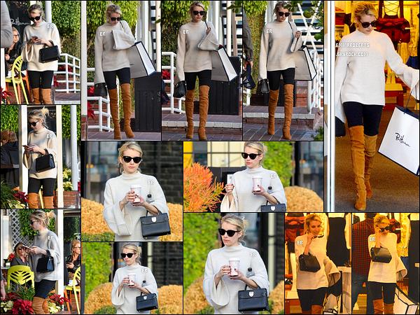 13/12/16 : Notre jolie Emma  a été faire quelques achats chez Fred Segal, dans un quartier de West Hollywood. Je ne sais pas vous, mais moi, j'aime beaucoup cette tenue. Et surtout ses bottes montantes. C'est donc un top pour moi ! Et vous ?[/font=Arial]