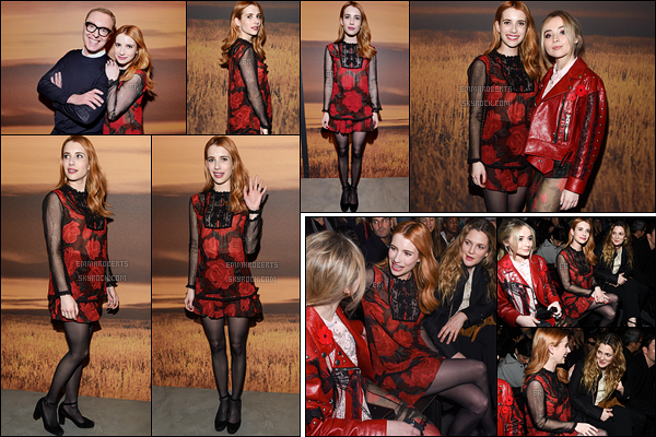 14/02/17 : Notre jolie Emma s'est rendue au défilé de The Coach, pour la Fashion Week 2017 de New York. Côté tenue, sa robe est assez atypique, mais je trouve qu'elle lui va plutôt bien. Je lui accorde un top ! Et vous, vous en pensez quoi ?[/font=Arial]