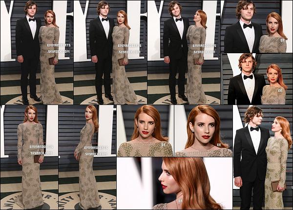 26/02/17 : Emma et Evan se sont ensuite rendus à l'after-party organisée par Vanity Fair dans Los Angeles. Côté tenue, j'aime beaucoup sa robe, qui lui va à merveille. Je lui donne un top ainsi que pour son make-up ! Vous en pensez quoi ?[/font=Arial]