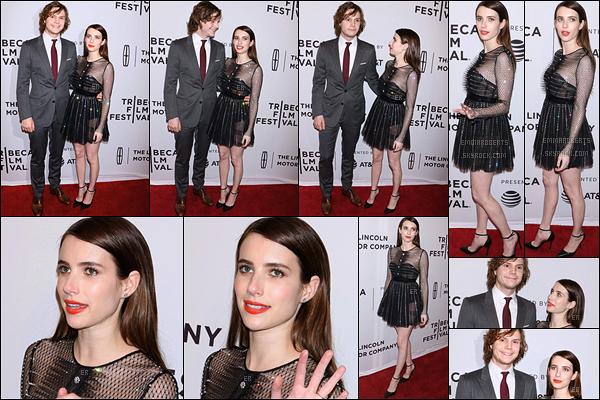 27/04/17 : Emma s'est rendue à la l'avant-première du film Dabka lors du Tribeca Film Festival, à New York. Elle s'y est rendue puisque Evan a un des rôles principaux dedans. Vous pouvez aussi voir que l'actrice a un brun plus prononcé. Top ![/font=Arial]