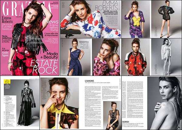 . Emma Roberts fait la couverture du magazine Grazia italien pour le mois de Juin.  Je trouve Emma magnifique sur les clichés et j'espère que les photos sortiront sous forme de photoshoot. Ils sont chanceux ces italiens ![/font=Arial]
