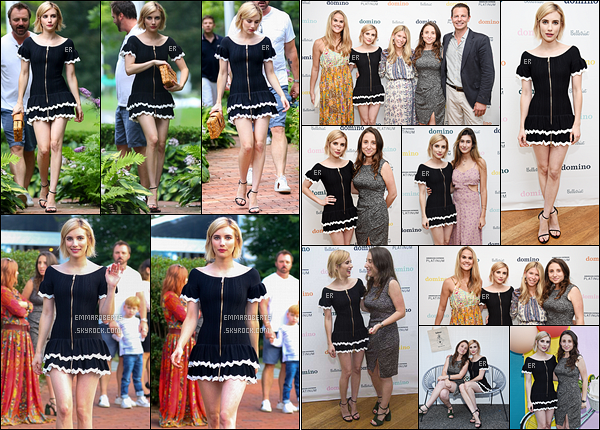 04/08/17 : Puis, elles se sont rendues au Domino x American Express Platinum, dans Bridgehampton. - (NY) Je vous ai aussi mis quelques photos d'Emma lors de son arrivée à la soirée. Sinon, j'aime bien la robe qu'elle porte, elle est élégante.[/font=Arial]