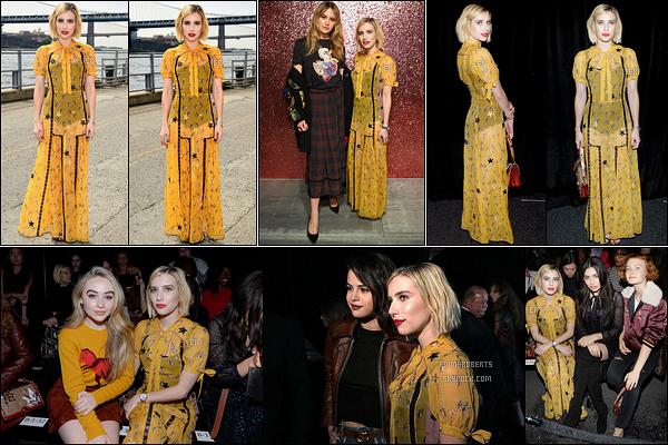 12/09/17 : La belle Emma Roberts été aperçue alors qu'elle se rendait au défilé de la marque Coach, à New Y. Pour le coup, elle a claqué la robe jaune poussin. Je ne suis pas extrêmement fan mais elle l'a porte plutôt bien. Un bof selon moi ![/font=Arial]