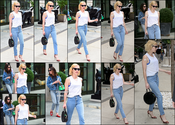 12/09/17 : Les paparazzis ont aperçu Emma alors qu'elle quittait son hôtel en compagnie d'amies, à New York. La belle est toujours présente dans la Grosse Pomme. Concernant sa tenue, je la trouve très sympa. Je lui attribue un top ! - Et toi ?[/font=Arial]