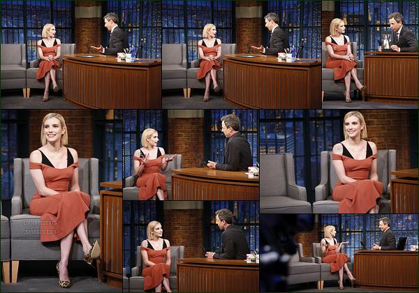 12/09/17: Emma s'est rendue sur le plateau de l'émission Late Night with Seth Meyer, toujours à New York. Je vous ai également mis une vidéo où elle parle de son rôle dans la nouvelle saison d'American Horror Story. J'ai vraiment hâte ![/font=Arial]