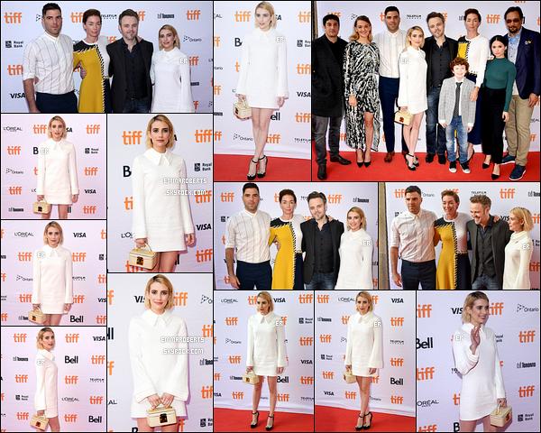 09/09/17 : Emma s'est rendue à la première de son film Who We Are Now au Toronto Film Festival. (Canada) Plusieurs de ses co-stars ont fait le déplacement comme Zachary Quinto ou Jason Biggs. Sinon, j'aime bien la robe qu'elle porte ![/font=Arial]