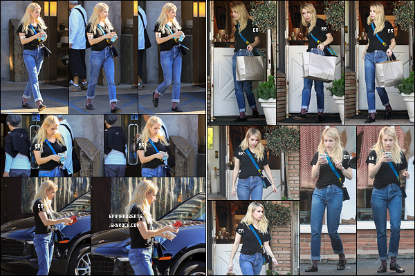 09/11/17 : Emma a été aperçue quittant un restaurant puis faisant du shopping dans les rues de Los Angeles. J'aime bien la tenue qu'elle porte mais alors les chaussures no way ! C'est vraiment trop moche avec ce genre de chaussures... Bof![/font=Arial]