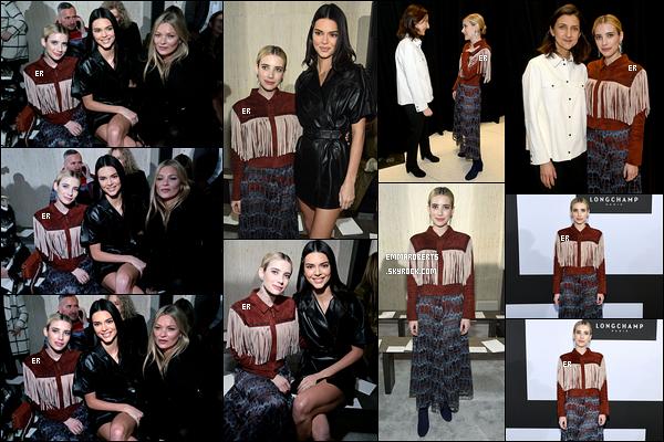 09/02/19 : Em s'est rendue au défilé de la marque Longchamp qui s'est tenu à New York pour la Fashion Week. L'actrice a posé aux côtés de Kendall Jenner et Kate Moss. Concernant sa tenue, je ne sais pas trop quoi en penser... - Vous aimez ?