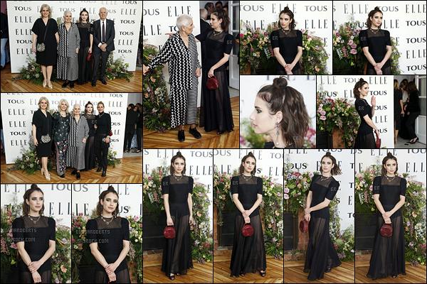 03/04/19 : Emma s'est rendue à l'event Elle Tribute to Emma Roberts, à l'hôtel Santa Barbara, dans Madrid. C'est donc avec le magazine Elle qu'Emma a décidé de célébrer sa collaboration avec la marque de bijoux espagnole Tous. Un top ![/font=Arial]