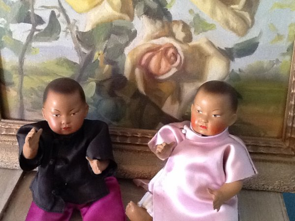 Anciens baigneurs PETITCOLLIN Asiatiques en celluloid :D