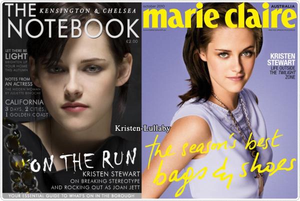"""Kristen fait encore et toujours la une des magazines. Ici pour """"The Notebook"""" et """"Marie-Claire"""" de septembre , octobre.Perso j'aurais voulu voir d'autres photos de Kris. Celles ci sont déjà vues et revues. Surtout que celle faisant la couverture du """"Marie-Claire"""" provient du shoot pour le magazine """"Elle""""."""