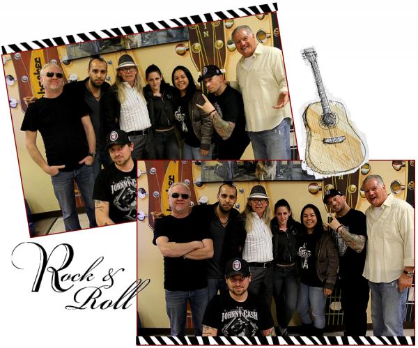 """Kristen et son papounet au """"Norman's Rare Guitars""""."""