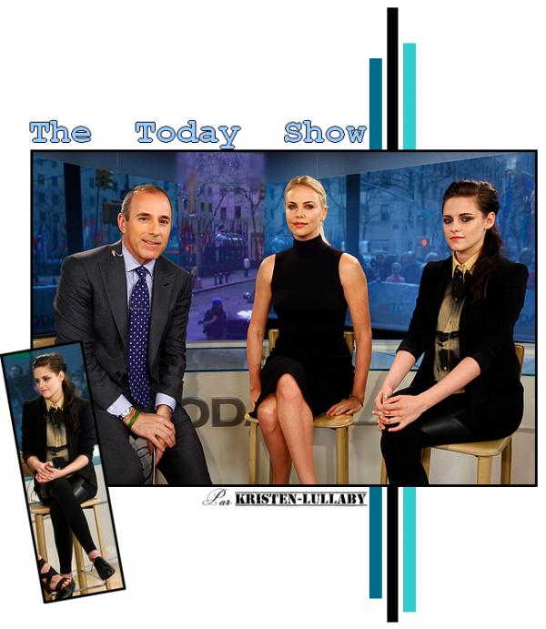 """Lundi 19 Mars 2012 : Kristen & Charlize sur le plateau de l'émission """"The Today Show""""."""