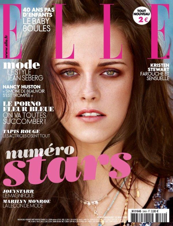 Vendredi 18 Mai 2012 : Aujourd'hui le magazine Elle (français) sort et c'est Kristen qui en fait la couverture. Kristen Stewart : l'actrice sur la route de la gloire. L'héroïne de « Twilight » ne s'est pas laissé vampiriser. Kristen Stewart est « Sur la route » de la gloire, dans l'adaptation du chef-d'½uvre de Kerouac présentée à Cannes. Rencontre.
