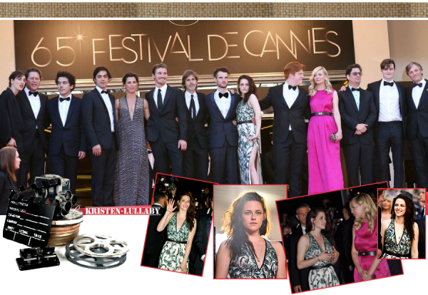 """Mercredi 23 Mai 2012 : Montée des marches du Festival de Cannes pour le cast de """"Sur la route""""."""