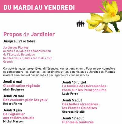 Jardin des plantes - propos de jardinier(s)