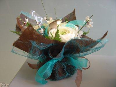 Milieu de table pour une d co turquoise chocolat art cr ation - Deco table turquoise chocolat ...