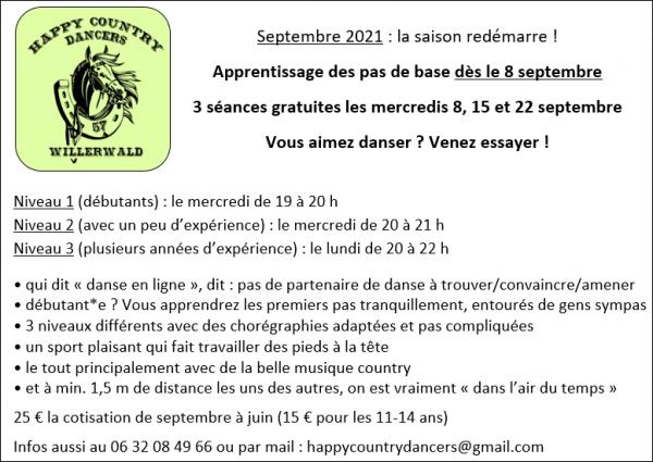Septembre 2021 : les cours de danse reprennent !