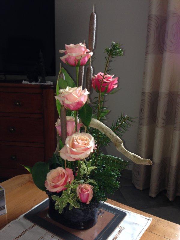 avec des roses ...