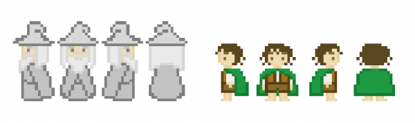 Frodon et Gandalf sprite pixel art