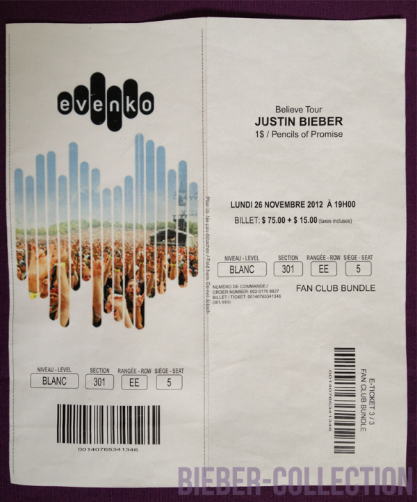 Billet de Concert du Believe Tour