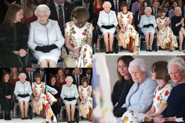 20 février 2018 : La Reine Elizabeth II a assisté au défilé de mode de Richard Quinn