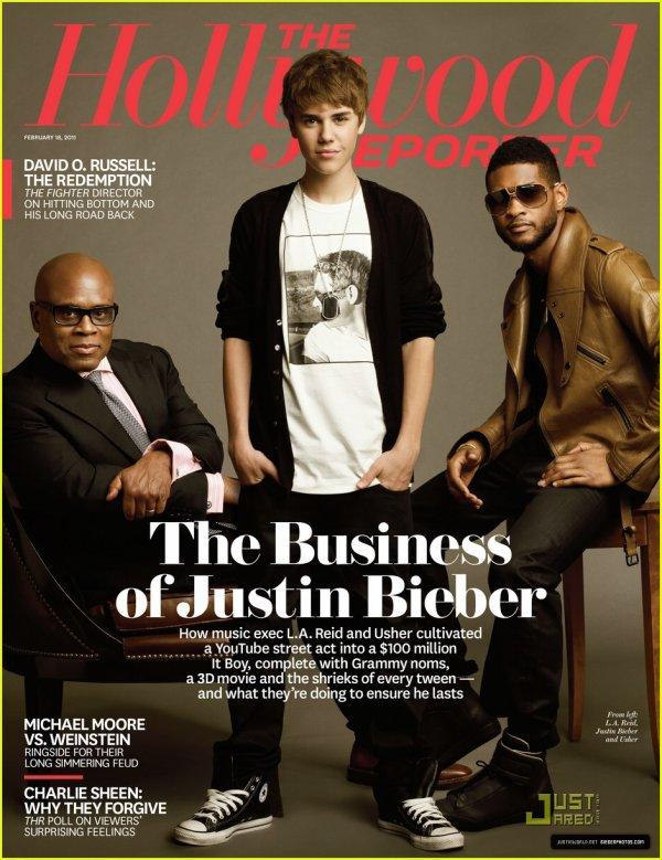 """Justin & Usher font la couverture du magazine américain """" Hollywood reporter """" .  Perso : L'image n'est pas très original mais par contre Justin et magnifique dessus ! ;D"""