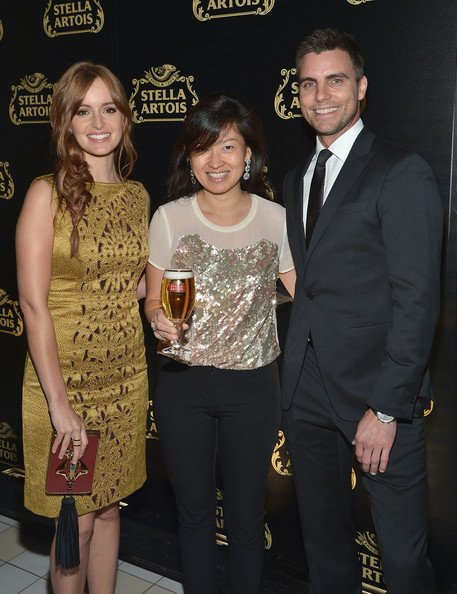 Ahna O'Reilly, la vice-présidente mondial Stella Artois , Debora Koyama, et l'acteur Colin Egglesfield à l'événement de lancement de Stella Artois calice en cristal dans Meatpacking District