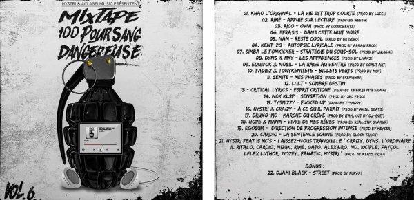 """""""Autopsie Lyricale"""" dans la mixtape  """"100 Pour Sang Dangereuse vol. 6""""  disponible sur """"Haute Culture"""""""