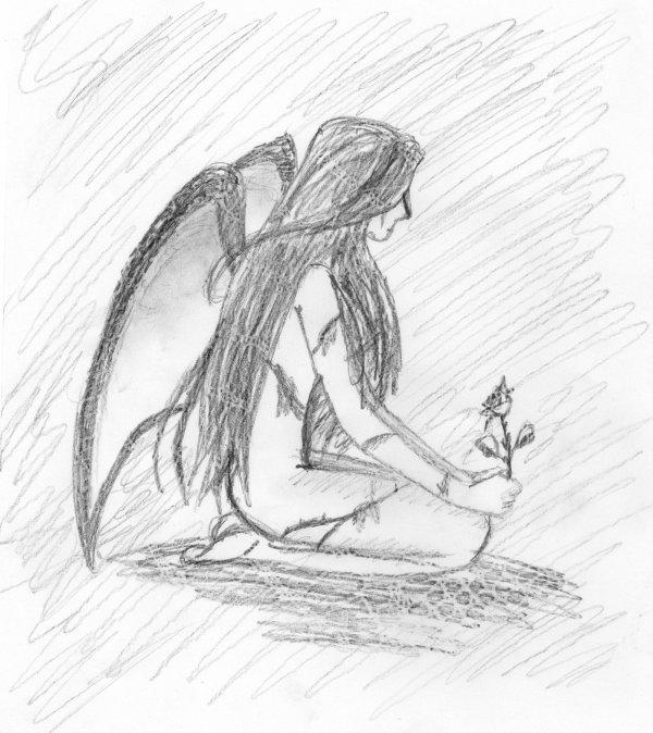 Dessin Ange Triste petit dessin - blog de la-petit-ange-solitaire