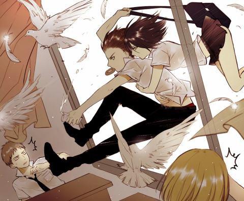 Image 272 : Jpense que si Mikasa serai en couple avec Levi , il seront les Gangster du Lycée xD