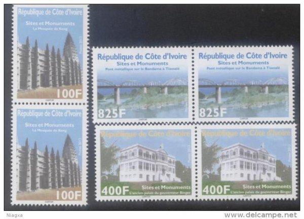 timbres  sur les monuments historiques de cote d  ivoire...
