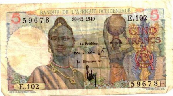 aof  billets  de  1...2...5......francs  cfa