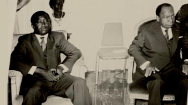 le president  houphouet boigny  et son opposant   laurent  gbagbo