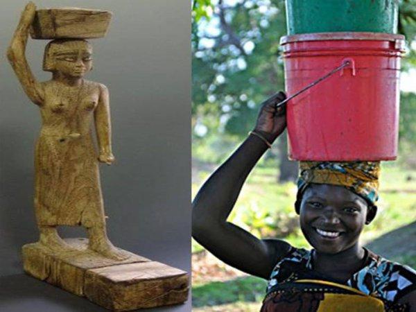 mage: La coutume de porter des choses sur la tete existait dans la civilisation pharaonique (voir femme de l'époque pharaonique sur la première image). Cette habitude existe encore en Afrique de nos jours (voir femme africaine d'aujourd'hui sur la deuxieme image)