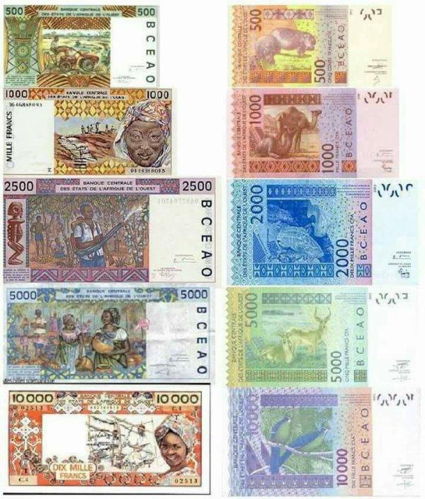 qui a  connu   ces    billets   ancien  et  nouveaux  francs  CFA