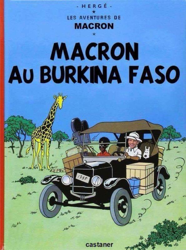 """Serge Bile 8 h ·    Après le discours de Dakar et la petite phrase de Nicolas Sarkozy affirmant que """"l'homme africain n'est pas assez entré dans l'Histoire"""", voici le discours de Ouaga avec la petite phrase d'Emmanuel Macron sur le Président du Burkina Faso : """"Il est parti réparer la climatisation""""... Mais bon, tant que les Africains donneront le bâton pour se faire battre et accepteront de se faire humilier chez eux…"""