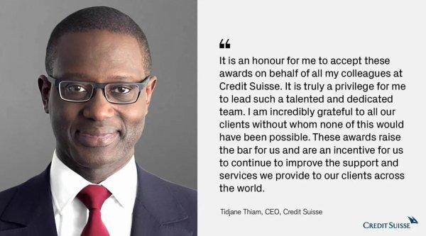 Il y a de cela quelques temps je présentais le parcours combien brillantissime de notre illustre aîné caïman M. #Tidjane_Thiam CEO de #Crédit_Suisse depuis 2015. Il vient d'être élu Banquier de l'année 2018 par les #Euromoney_Awards_for_Excellence à Londres ce 11 Juillet.  Toutes nos félicitations à lui.