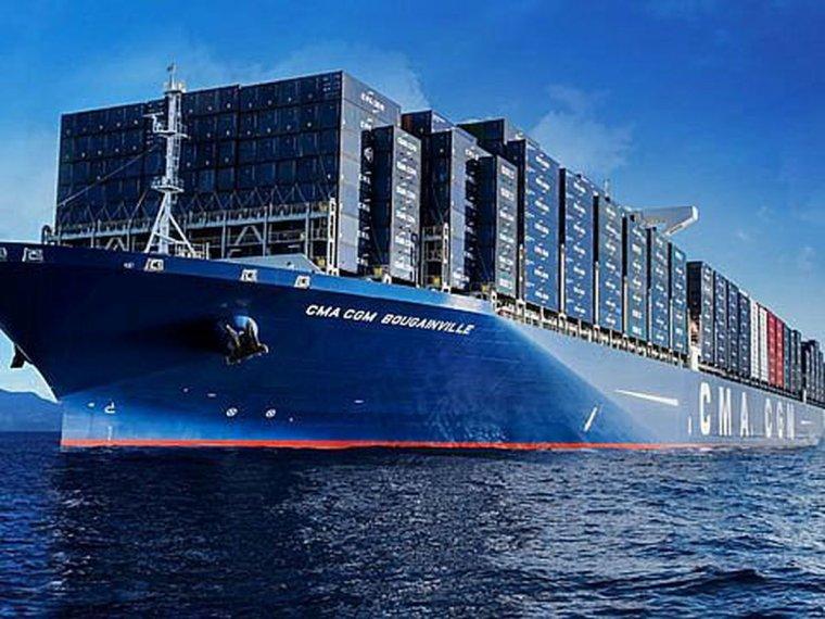 le plus grand port conteneur est arrive au havre le bougainville