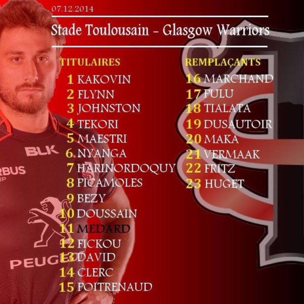 Composition de l'équipe qui affrontera Glasgow
