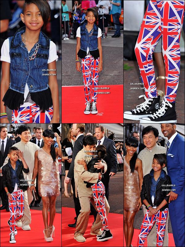. 16/06 ..Willow Smith, splendide, était à l'avant première de Karaté Kid à Londre en Angleterre. Sa tenue est .. je sais pas comment la décrire, (top) ! Je kiff totalement ses converses ainsi que son leggin Angleterre :)  .