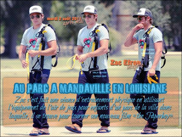 → Zac EFRON // Candis - . • ˙ • . • ˙ • . • ˙ • . • ˙ • . • ˙ • . • ˙ • . • ˙ • . • ˙ • . •˙ • .  DAILY-ZEFRON ★.•°•.•JEUX D'ENFANTS & SEANCE SPORTIVE•.•°•.★  « Parc Mandeville - Louisiane - USA » - . • ˙ • . • ˙ • . • ˙ • . • ˙ • . • ˙ • . • ˙ • . • ˙ • . • ˙ • . •˙ • .  - « 02.08.2011 »