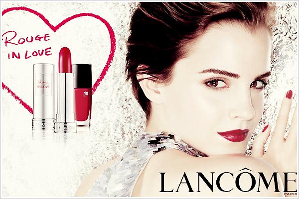 """. Lancôme - Première photo publicitaire de Emma pour la gamme """"Rouge In Love"""", j'ai laissé les couleurs rouges originales. ."""