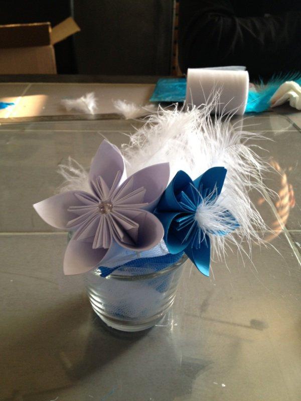Cr ation communion avec centre de table cr ation origami - Centre de table noel a faire soi meme ...