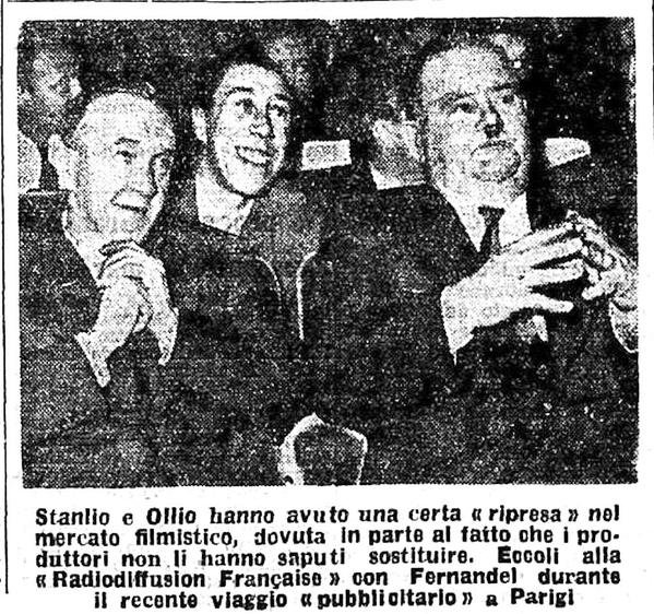Laurel et Hardy en compagnie Fernandel