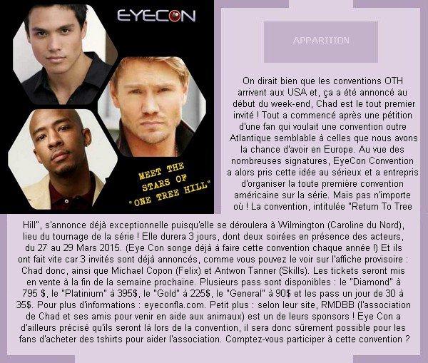 __ •__•__•__•__•__•__•__•__•__•__•__•__•__•__•__•__•__•__•__•__•__•__•__•__•__•__•__•__•__•__•__ __♥ APPARITION__ La toute première convention OTH aux USA annoncée par Eye Con !  •__•__•__•__•__•__•__•__•__•__•__•__•__•__•__•__•__•__•__•__•__•__•__•__•__•__•__•__•__•__•__ ___Annoncée le 7 Novembre 2014_____  Source : @EyeCon3000     __